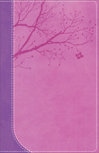 NKJV God Girl Bible, Pretty Purple/Berry Pink Duravella, Tree Design Duravella
